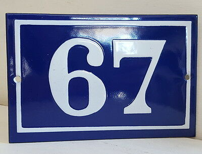 OLD FRENCH HOUSE NUMBER SIGN door gate PLATE PLAQUE Enamel steel metal 67 Blue
