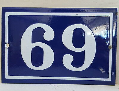 OLD FRENCH HOUSE NUMBER SIGN door gate PLATE PLAQUE Enamel steel metal 69 Blue