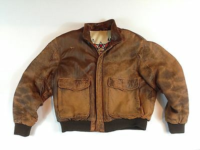 Vintage Leather Aviator's Bomber Flight Jacket - Men's Size 46