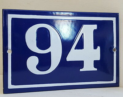 OLD FRENCH HOUSE NUMBER SIGN door gate PLATE PLAQUE Enamel steel metal 94 Blue