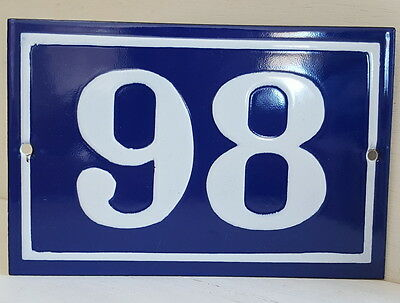 OLD FRENCH HOUSE NUMBER SIGN door gate PLATE PLAQUE Enamel steel metal 98 Blue