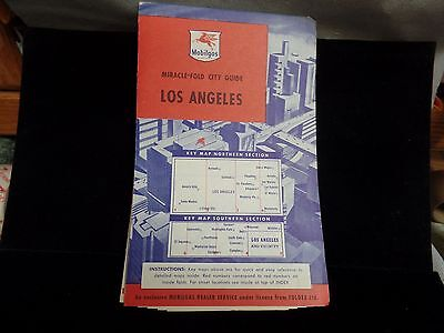 Early1950's Map- Los Angeles-miracle fold city guide Flying pegasus design