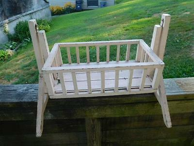 Antique Primitive Wood Child's Baby Doll Swinging Cradle or Crib -White Shabby