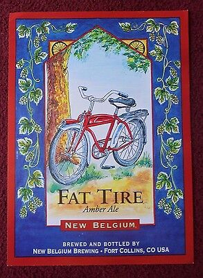 Beer Poster New Belgium Brewery ~ FAT TIRE Amber Ale Red Bicycle ART