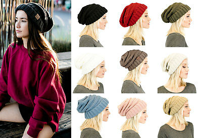 3b684d3d58b WOMENS CC OVERSIZED Solid Knit Warm Baggy Cap Thick Slouchy Beanie ...