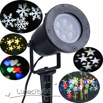 LED Moving Snowflakes,Heart,Star Lamp Landscape Projector Light Wall Xmas Décor