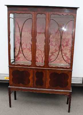 Edwardian Tall Mahogany Glazed China Cabinet with Glazed display beaded doors.