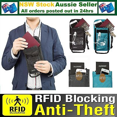 RFID Safe Anti Scan Travel Neck Pouch Passport Card Ticket Money Wallet Security