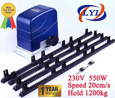 Sliding Electric Gate Opener 1200KG Automatic Motor Remote Kit Heavy Duty 4M