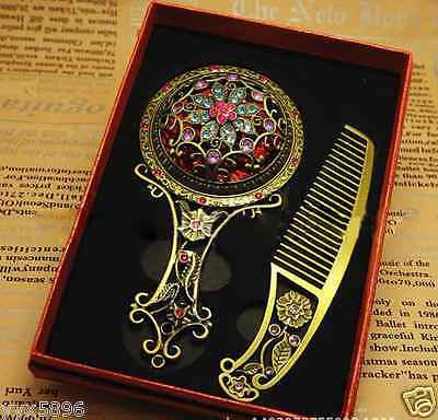 Vintage Girl Women Jewelry cosmetics Hand Held Mirror Comb Antique Style Gift