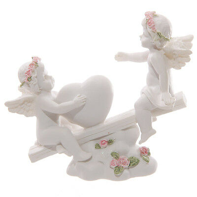 Cherub Heart Seesaw With Pink Roses..Figurine
