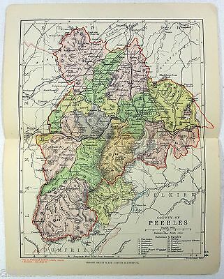 Original Philips 1891 Map of The County of Peebles, Scotland