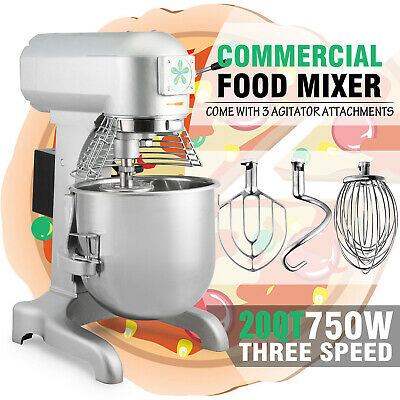 Commercial 1 HP 20 Quart Food Mixer  Gear Driven Dough Flour Paste Three Speed