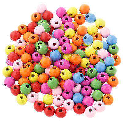 200pcs 12mm Colour Round Wooden Beads for Jewelry Making Loose Spacer Charms
