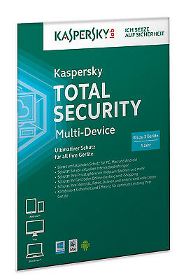 Kaspersky Total Security 2018 3 PC / Geräte / 1 Jahr / Download / auch f. 2017