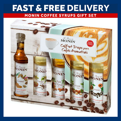 MONIN Coffee Syrups 5 X 50ml Bottle Gift Set & Stecils - Perfect for Christmas