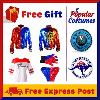 Harley Quinn Suicide Squad Girls Teenager Full Set Fancy Dress Halloween Costume