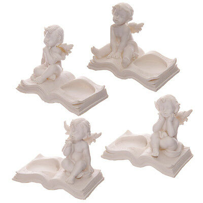 Cherub Sitting On A Book Tea Light Holder FREE Candle