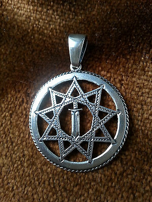 Solid Sterling Silver 925 The Sword in the Star Pendant Amulet VIKING Ethnic