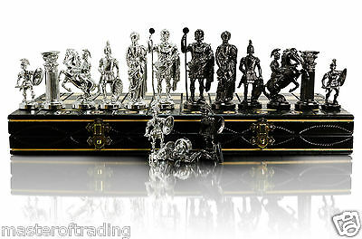 Luxury SPARTAN - SILVER Edition Wooden Chess Set  40x40cm & Weighted Pieces !!!
