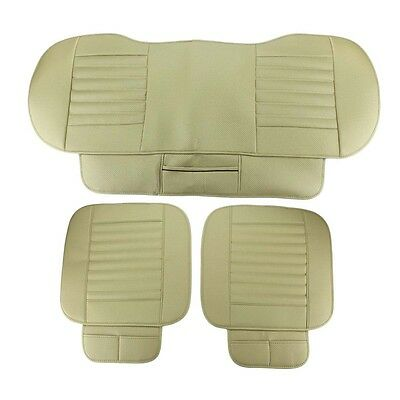 Universal PU leather Beige Car Seat Cover Bamboo Pad Cushion Protector