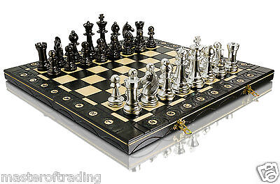 Luxury STAUNTON - SILVER Edition Wooden Chess Set  40x40cm & Weighted Pieces !!!