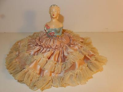 Antique Chalkware Half Doll Pin Cushion 1920S Rare Condition