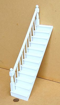1:12 White Painted Wooden wDolls House Stair Case + Fixed Left Bannister Rail