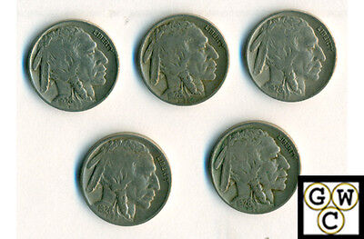 1926 Buffalo Nickels Fine/Very Fine (Lot of 5 coins)