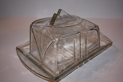 Antique Clear Glass Art Nouveau Cheese Holder 30's - 40's