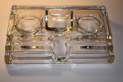 Vintage Glass Double Inkwell Desktop Accessory