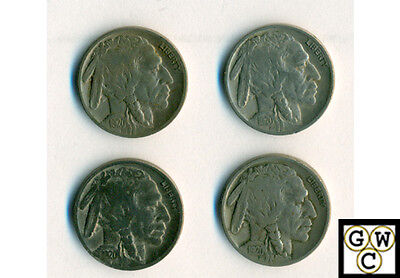 1920 Buffalo Nickels Very Good/Fine (Lot of 4 coins)