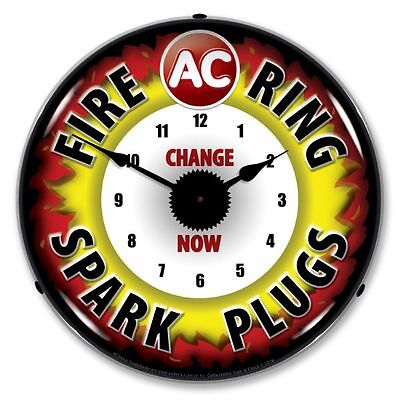 New Ac Fire Ring Spark Plugs  Retro Backlit Lighted Clock - Free Shipping*