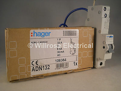 Hager RCBO 32 Amp 30mA Type B 32A 106364 B32 ADN Range ADN132 NEW