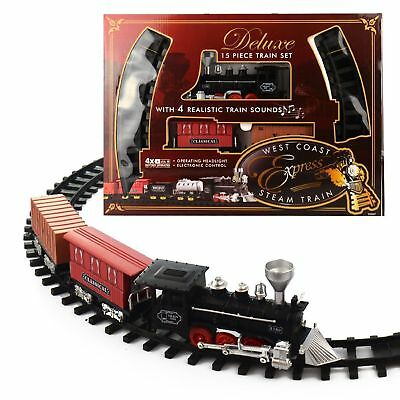 Classic Kids Toy Train Set Track Carriage Engine Lights Sounds Christmas Gift...