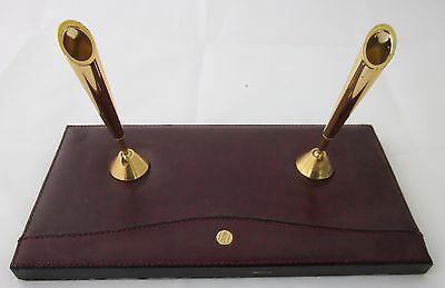 VTG GOLDPFEIL WEST GERMANY Desk Set Burgundy Leather DOUBLE PEN HOLDER