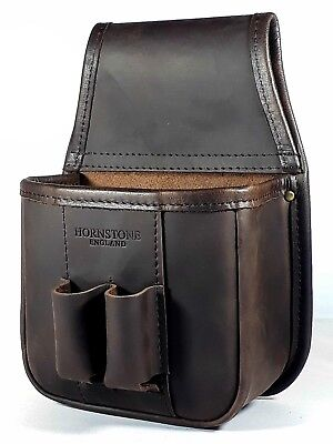 Shotgun cartridge pouch  brown  waxed / distressed leather (pouch only)