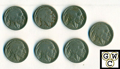 1920-S  Buffalo Nickels Very Good-Fine (Lot of 7 coins)