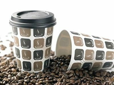 100 X Cafe Mocha 12oz Paper Cup & Black Sip Lids In Tea Coffee Disposable (BL)