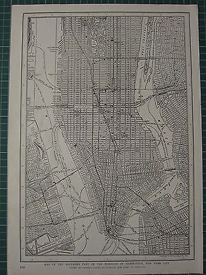 1926 Map ~ Southern Part Of Borough Of Manhatten New York City Railway