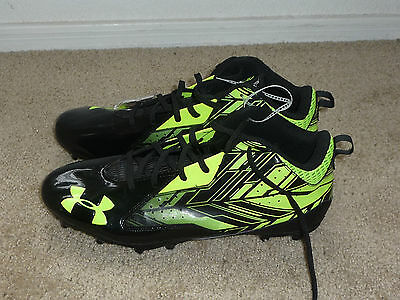NEW Under Armour Ripshot Mid MC Lacrosse Football Cleats Black & Neon size 11.5