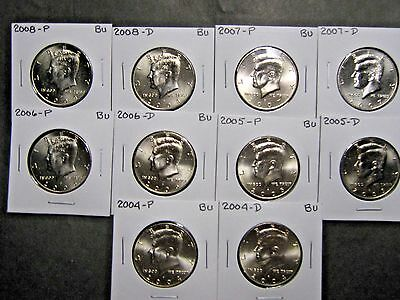 2004 2005 2006 2007 2008  P  D  KENNEDY HALF DOLLARS FROM MINT ROLLS (10 Coins)
