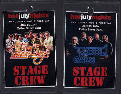 Beach Boys Kool and Gang July 2006 Tour Laminate Stage Pass Vancouver Music Fest