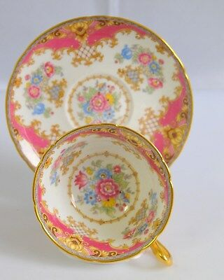 Shelley Bone China England Pink / Red  Sheraton Cup Saucer 13447