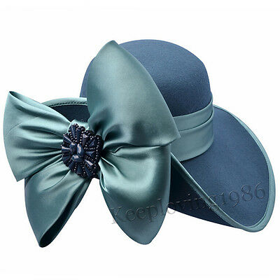 100% Wool Wide Brim Church Hat Noble Satin Floral Formal Party Hat Z013