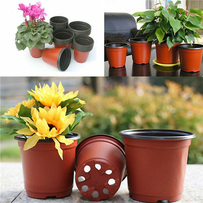10X Mini Plastic Round Flower Pot Terracotta Nursery Planter Home Garden Decor K