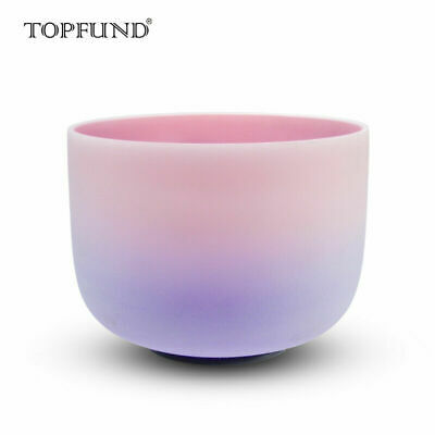 """Rainbow Colored Frosted F Heart Chakra Crystal Singing Bowl 10"""""""