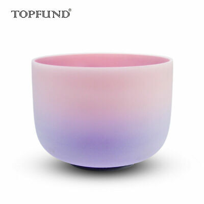 Rainbow Colored Frosted F Heart Chakra Quartz Crystal Singing Bowl 10""