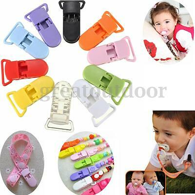 50 Pcs 10 Colors KAM Plastic Pacifier Clips Baby Soother Holder Dummy Craft