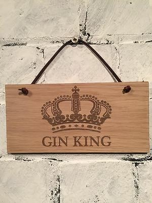 """ALCOHOL sign """"Gin King""""  Shabby chic sign, top gift for a GIN drinker (#159)"""